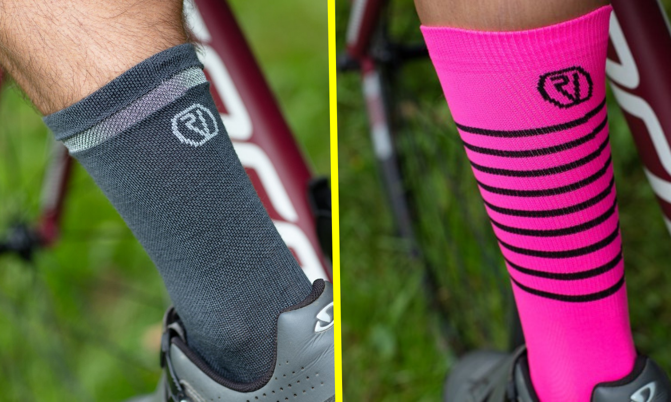 Proviz Cycling Socks - Grey Merino and Pink Classic
