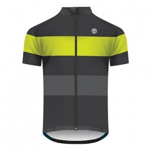 Classic Men's Retro Short Sleeve Cycling Jersey - Graphite/Yellow