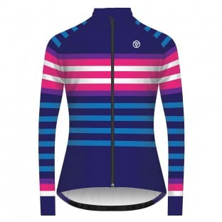 Classic Women's Podium Long Sleeve Jersey - Navy/Pink Stripe