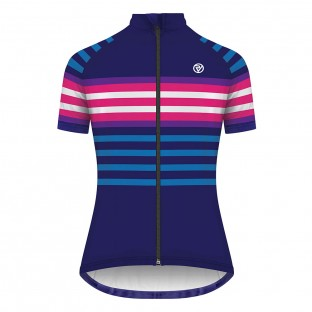 Classic Women's Podium Short Sleeve Jersey - Navy/Pink Stripe
