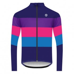 Classic Men's Long Sleeve Retro Cycling Jersey - Navy