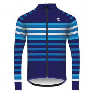 Classic Men's Podium Long Sleeve Cycling Jersey - Blue/White Stripe