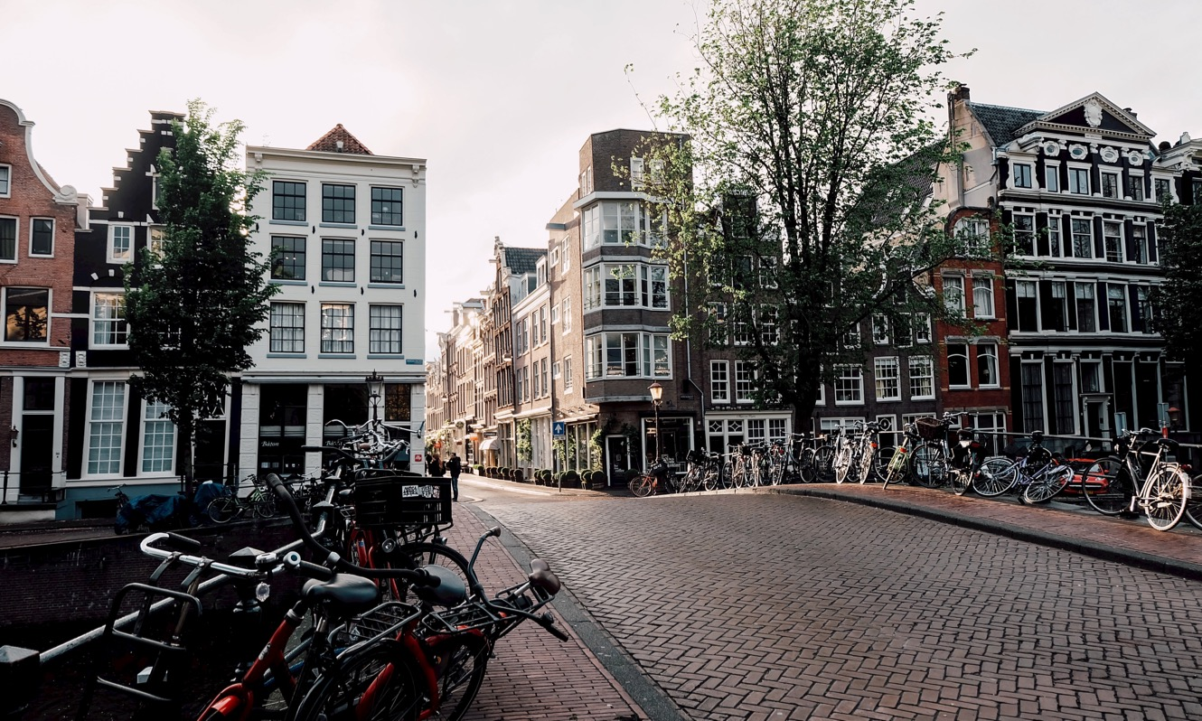 Amsterdam street with bicycles