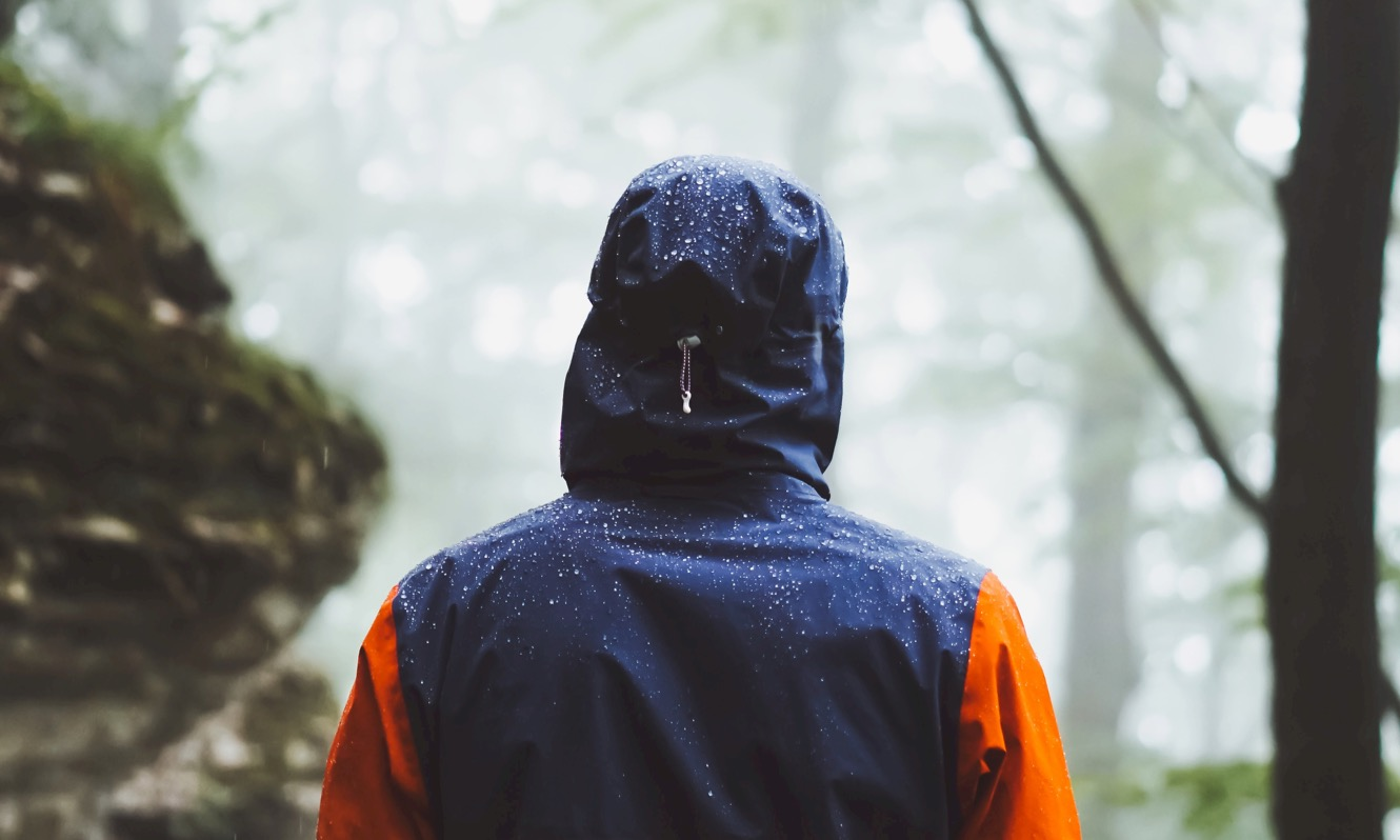 Person in a waterproof jacket