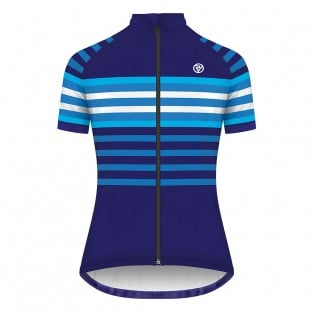 Classic Women's Podium Short Sleeve Jersey - Blue/White Stripe