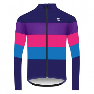 Classic Men's Long Sleeve Retro Cycling Jersey - Navy Blue