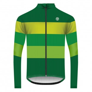 Classic Men's Long Sleeve Retro Cycling Jersey - Green/Yellow