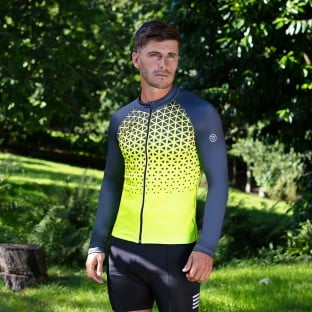 NEW: Classic Men's Long Sleeve Peloton Cycling Jersey - Yellow