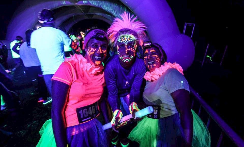 Participants dressed up for Glow in the Park