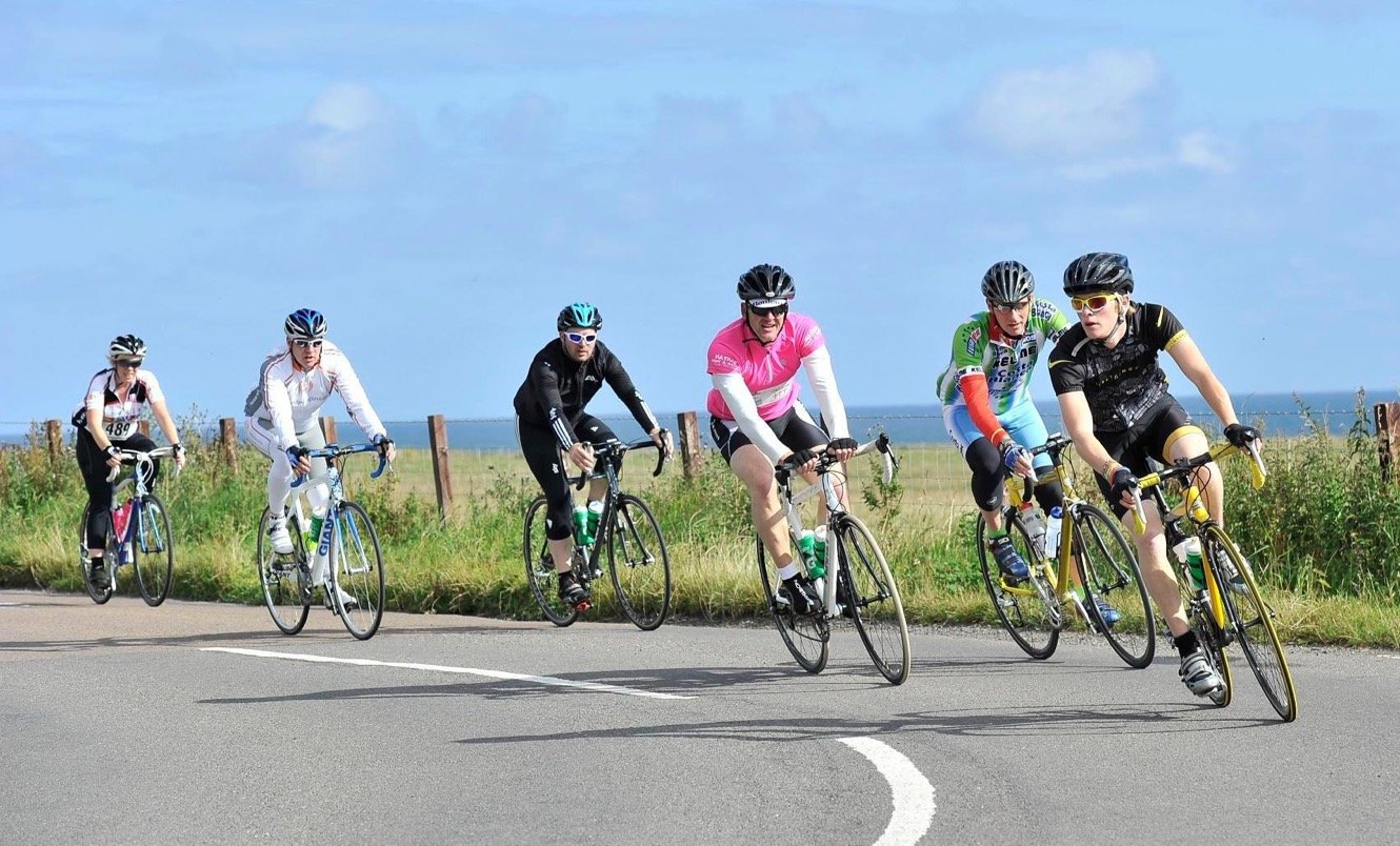 Cyclists taking part in the Great North Bike Ride