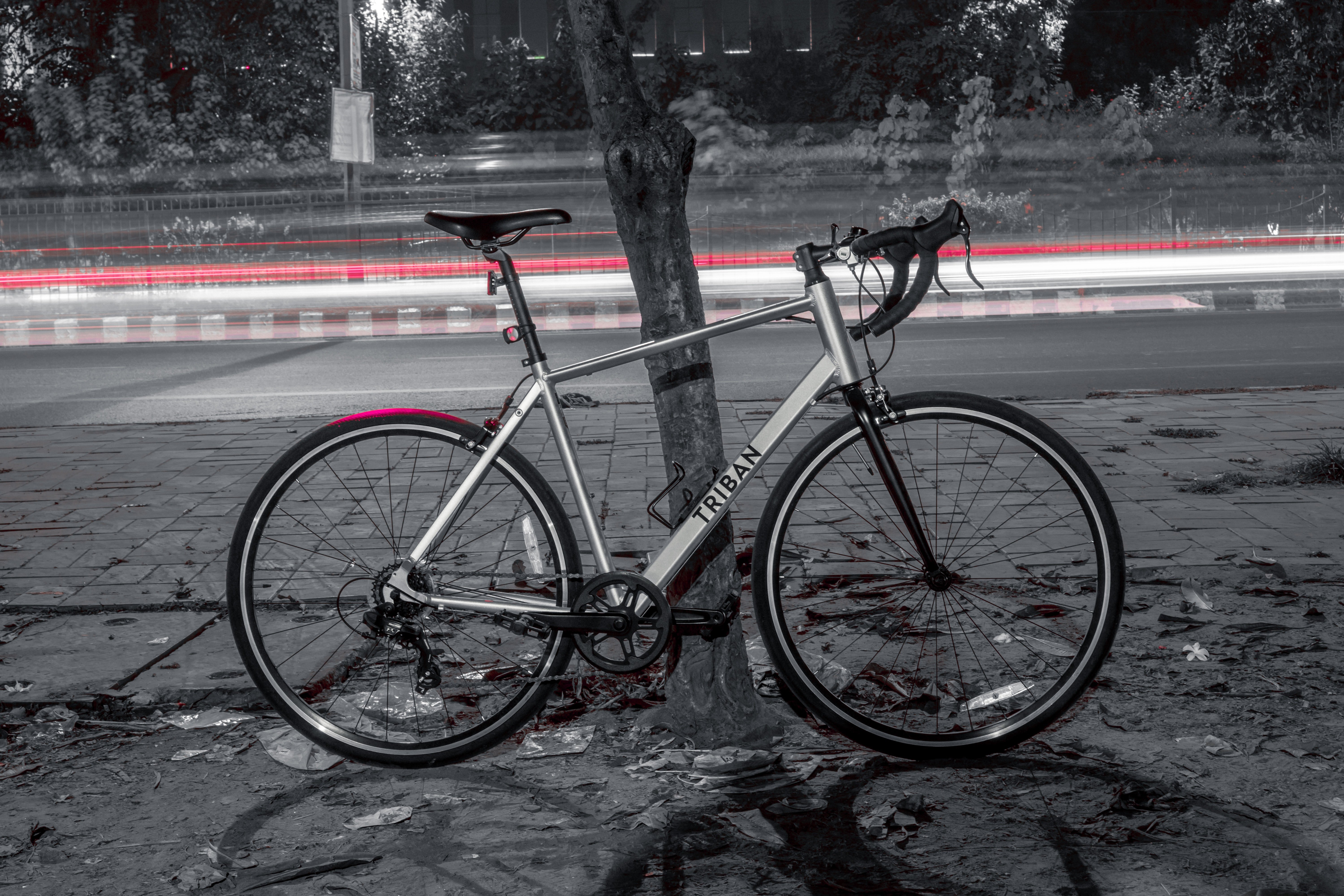 Triban road bike leaning on a tree