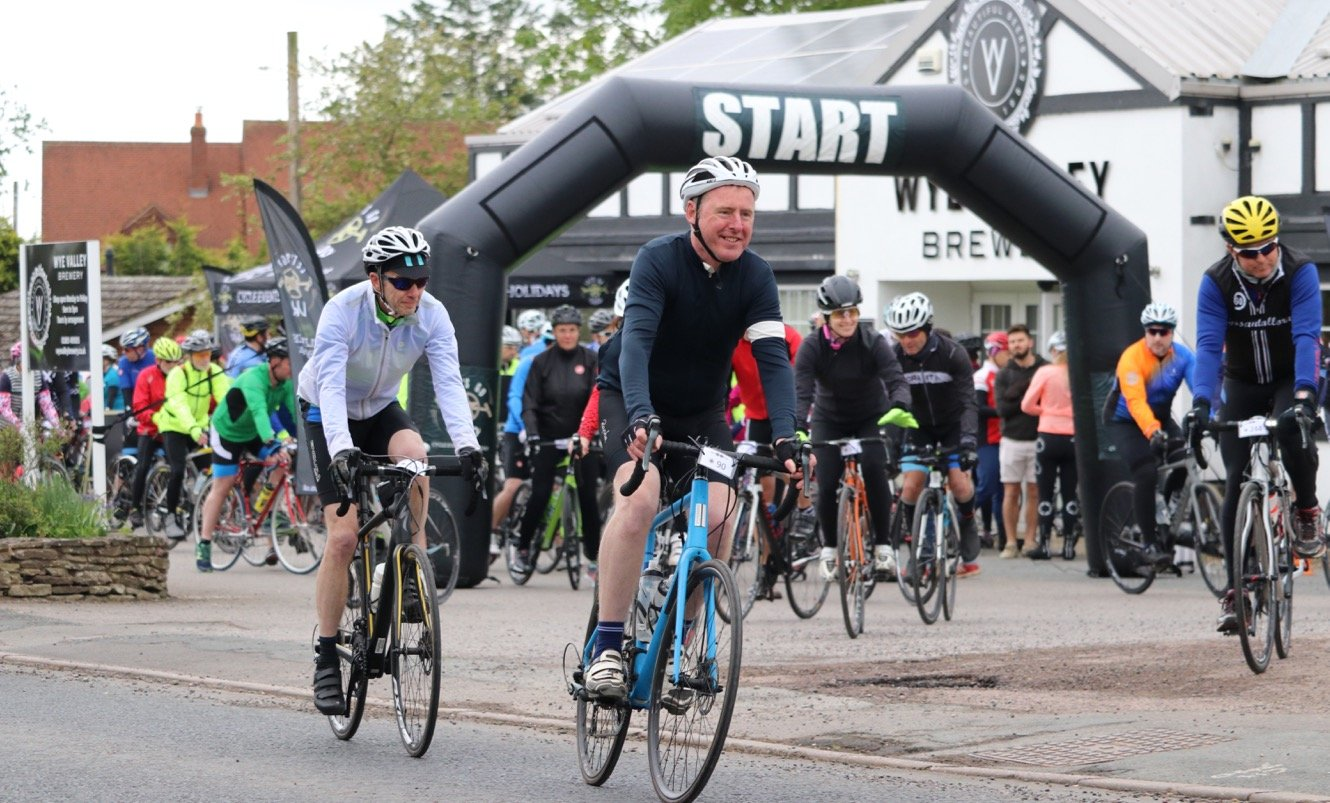 Cyclist Taking Part in the Wye Valley Brewery Sportive