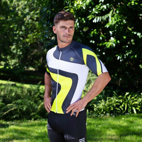 NEW: Classic Men's Short Sleeve Endurance Cycling Jersey - White/Yellow