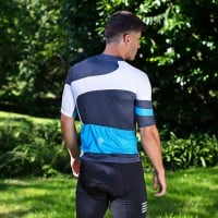 NEW: Classic Men's Short Sleeve Endurance Cycling Jersey - White/Blue
