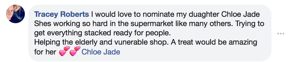 Facebook Comment from Proviz Local Heroes Comp 3