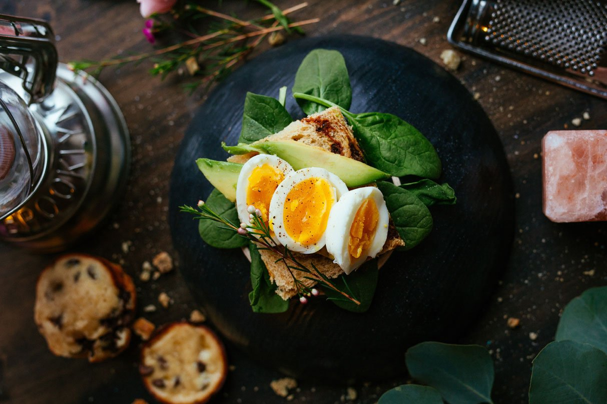 Eggs and Avocado on toast with spinach