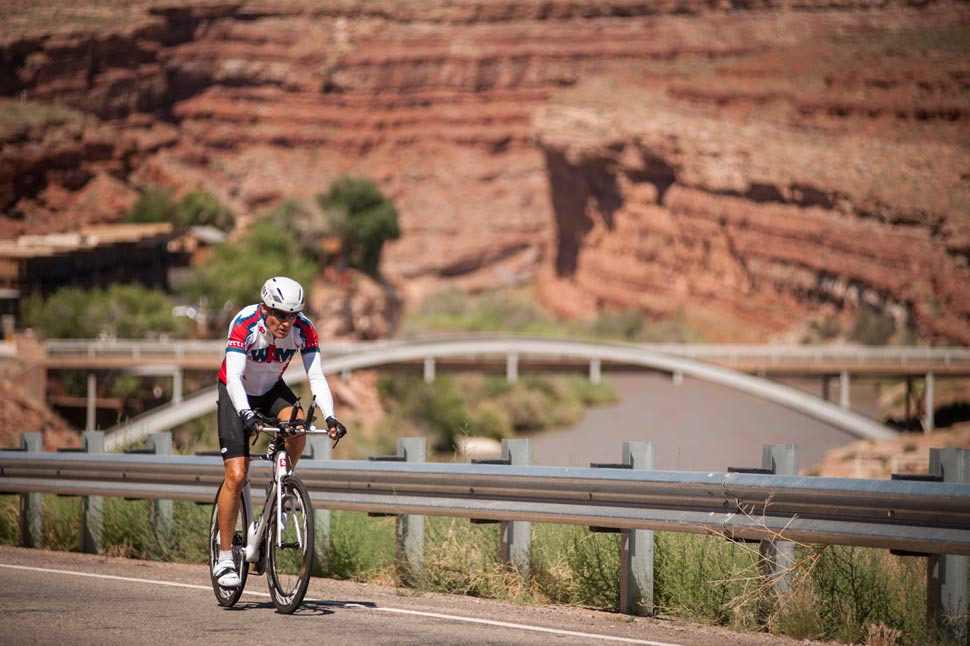 Tim Robert putting his shift in cycling across America