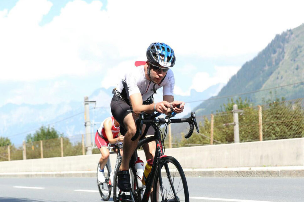 Matt Cycling through the Austrian mountains for the ironman event