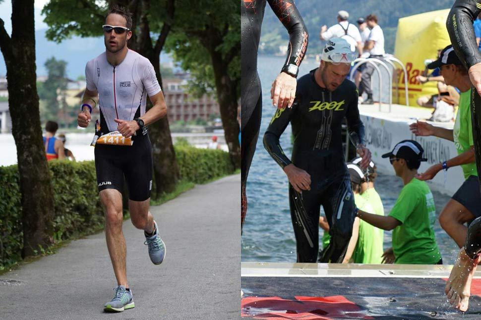 Ironman running and swimming