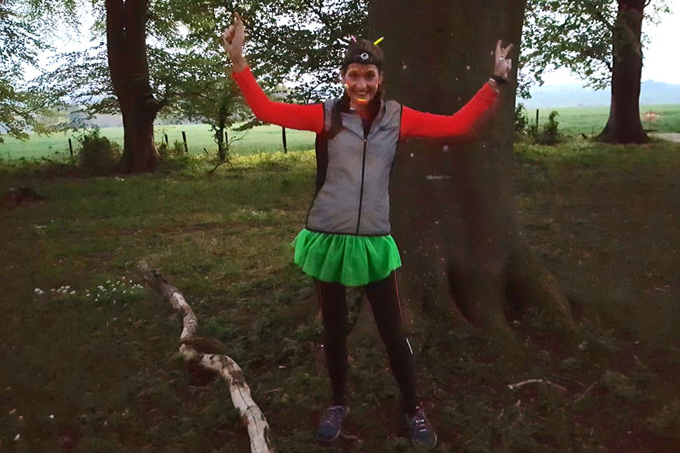 Hannah in her Proviz running gear about to take on the challenge of the Dark Ox