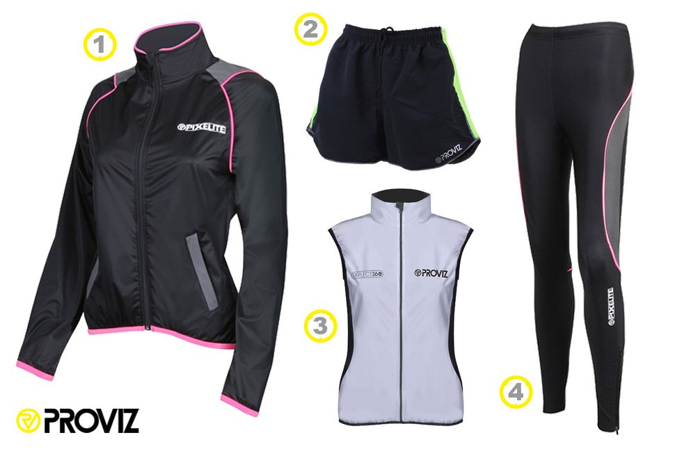 Pair Hannah's high visibility Reflect 360 running gilet and PixElite running tights with Lianna's PixElite running jacket and running shorts