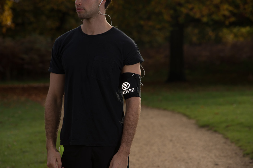 The Proviz Y-Fumble armband can hold a phone, key, credit card and is made to be as comfortable as possible for runners