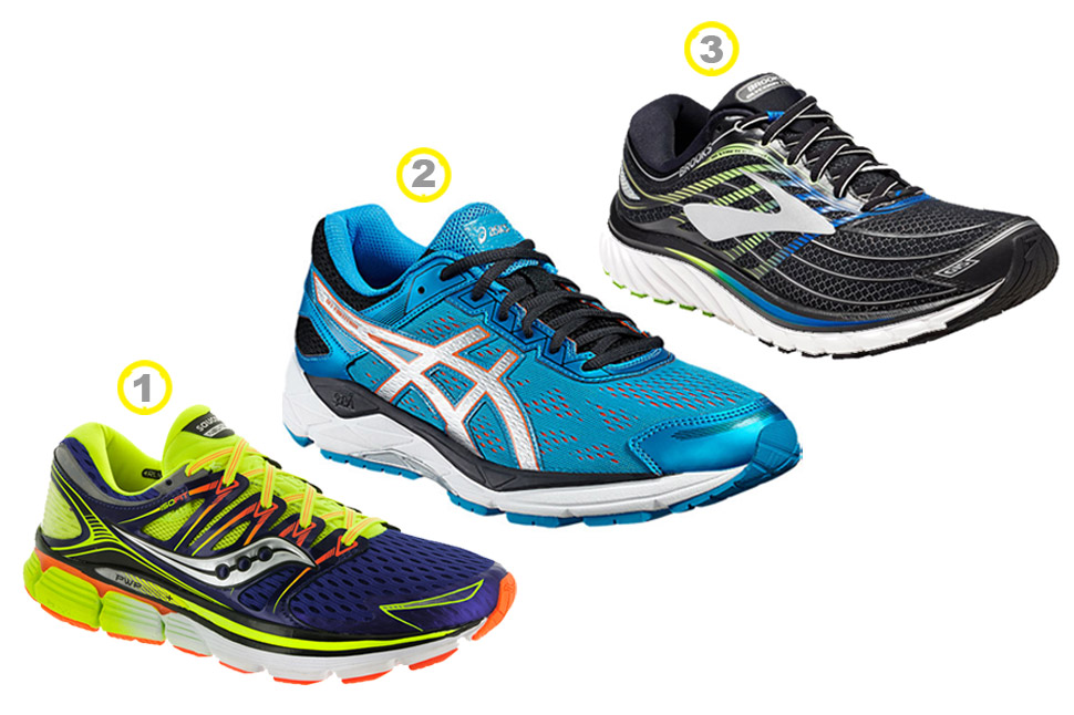Our top pick of running shoes from Saucony (Triumph ISO series) Asics (Gel Fortitude 7 2E) and Brooks (Glycerin 15)
