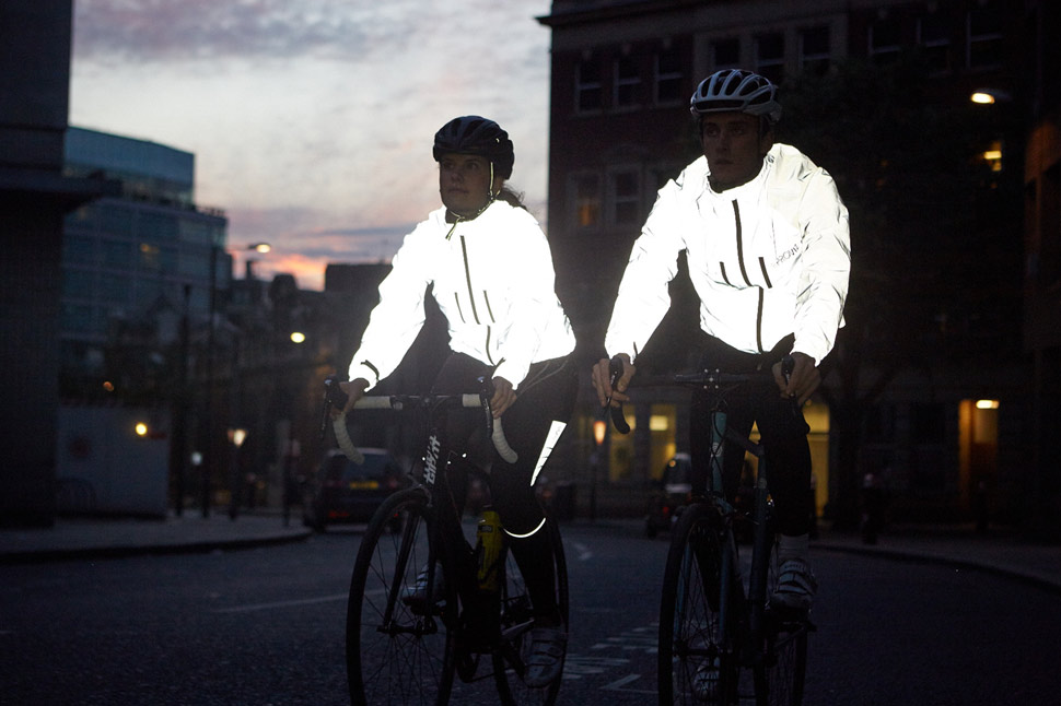 Proviz clothing lights up like a beacon when a source of light hits the fabric