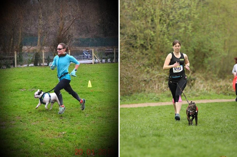 Jackie and French Bulldog Jake, left, with Laura and Staffie cross Holly on the right