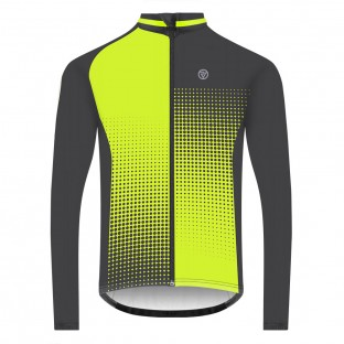 NEW: Classic Men's Long Sleeve Peloton Cycling Jersey - Black/Yellow