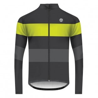 Classic Men's Long Sleeve Retro Cycling Jersey - Graphite/Yellow