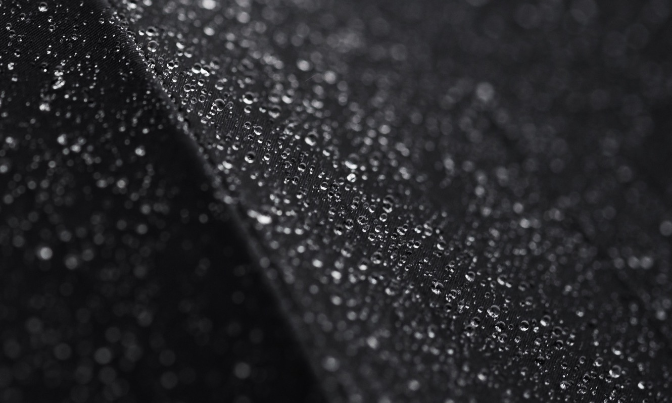 water droplets on waterproof material