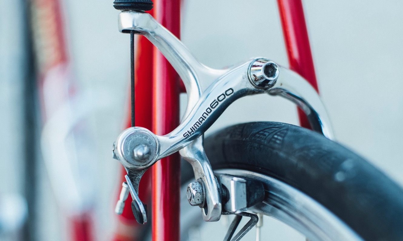 Close up of bicycle brakes