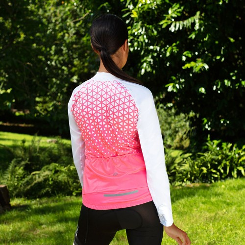 NEW: Classic Women's Long Sleeve Slipstream Cycling Jersey - White/Pink
