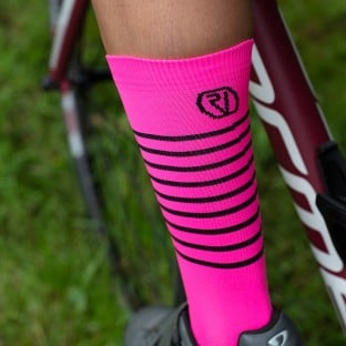 NEW: Classic Stripe Cycling Socks - Mid-Length - Pink