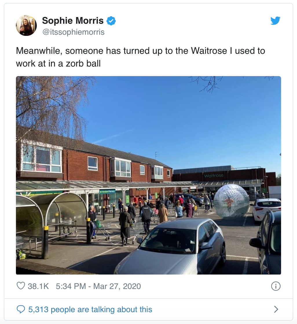 Sophie Morris - Twitter Post of Man Zorbing to Waitrose