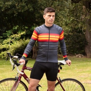 Classic Men's Podium Long Sleeve Cycling Jersey - Graphite/Red Stripe